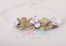 Delicate Floral Hair Tie - Green & Shades of Pink